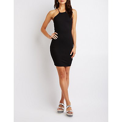 Bib Neck Lace-Up Bodycon Dress