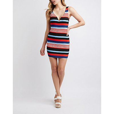 Striped Deep V-Neck Bodycon Dress