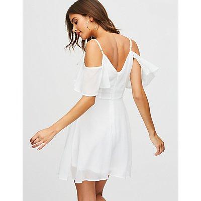 Flutter Sleeve Cold Shoulder Dress