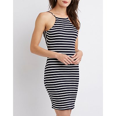 Striped Bib Neck Lace-Up Bodycon Dress