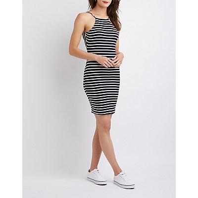 Striped Bib Neck Lace-Up Bodycon Dress
