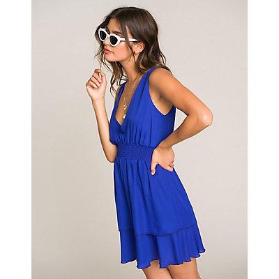 Smocked Open-Back Layered Dress