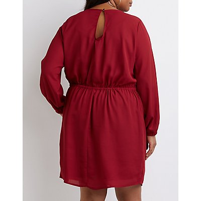 Plus Size Keyhole Wrap Dress