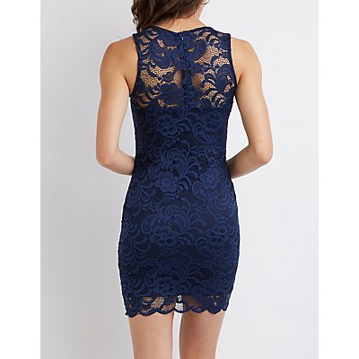 Scalloped Lace Bodycon Dress