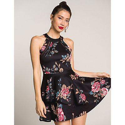 Floral Bib Neck Skater Dress