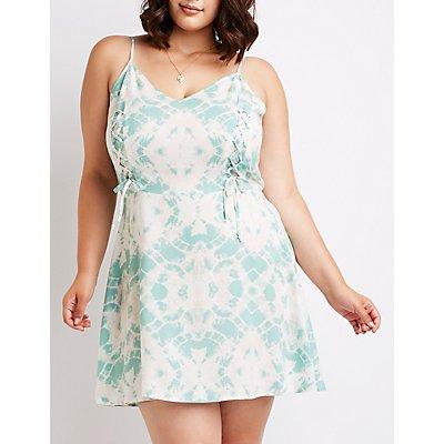 Plus Size Tie Dye Lace Up Sun Dress
