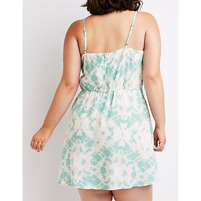Plus Size Tie Dye Lace Up Sun Dress