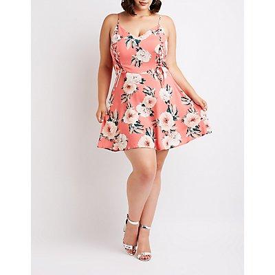 Plus Size Floral Lace Up Sun Dress