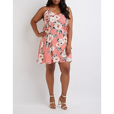 Plus Size Floral Lace Up Sun Dress