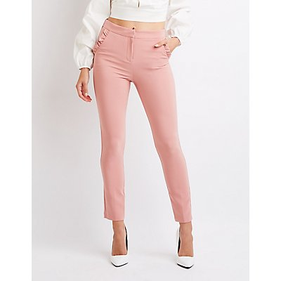 Ruffle-Trim Skinny Trousers