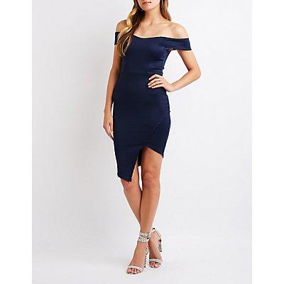 Off The Shoulder Asymmetrical Bodycon Dress