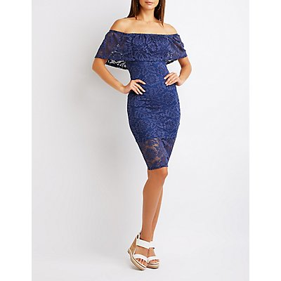 Lace Off The Shoulder Bodycon Dress