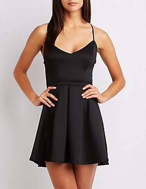 Scuba Pleated Skater Dress