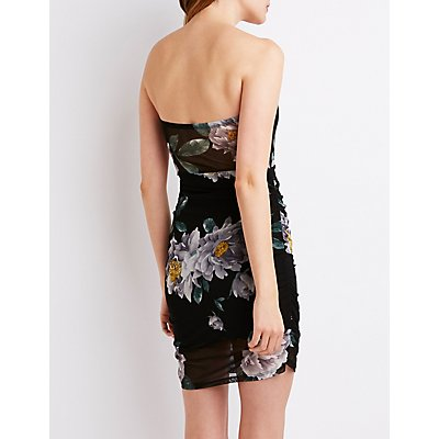Floral Ruched Bodycon Dress
