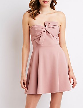 Strapless Bow Skater Dress