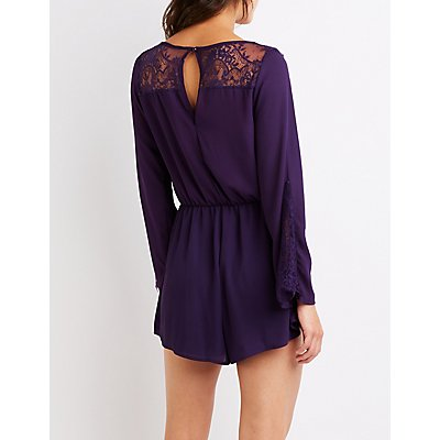 Floral Lace Bell Sleeve Romper