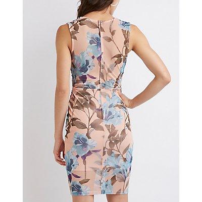 Floral Mesh Midi Dress