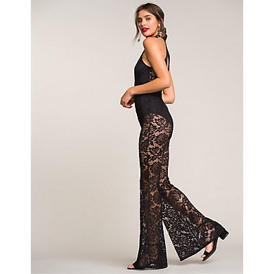 Lace Mock Neck Cut-Out Jumpsuit