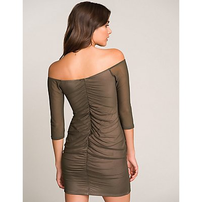 Mesh Off-The-Shoulder Bodycon Dress