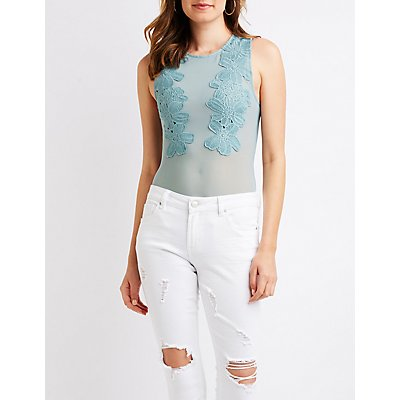 Floral Embroidered Mesh Bodysuit