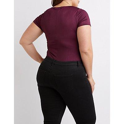 Plus Size Satin Cowl Neck Bodysuit