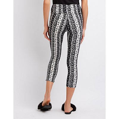 High-Waist Printed Cropped Leggings