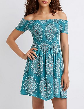 Smocked Off The Shoulder Skater Dress