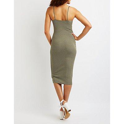 Striped Lace Up Midi Dress