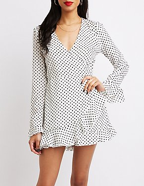 Polka Dot Ruffle-Trim Surplice Skater Dress