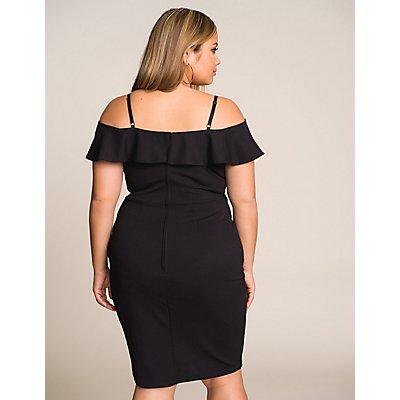 Plus Size Cold Shoulder Wrap Dress