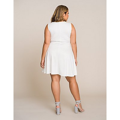 Plus Size Pleated Wrap Skater Dress