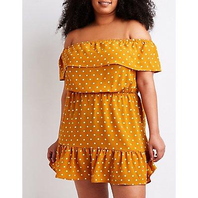 Plus Size Polka Dot Off The Shoulder Dress