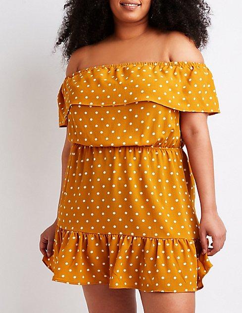 Plus Size Polka Dot Off The Shoulder Dress Charlotte Russe
