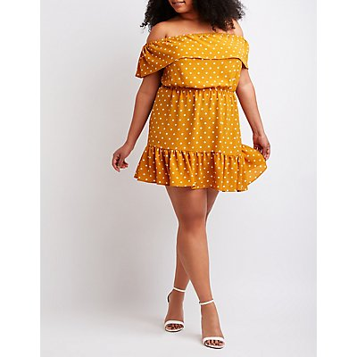 Plus Size Polka Dot Off The Shoulder Dress
