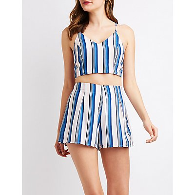 Stripe Tie Back Crop Top