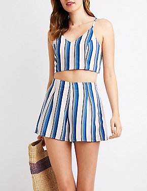Striped High Waist Shorts