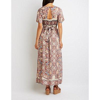 Printed Kimono Sleeve Maxi Romper