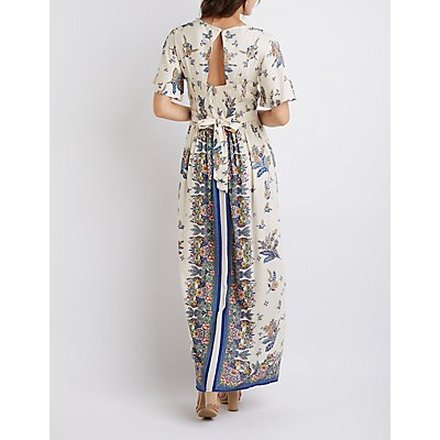 Floral Kimono Sleeve Maxi Romper