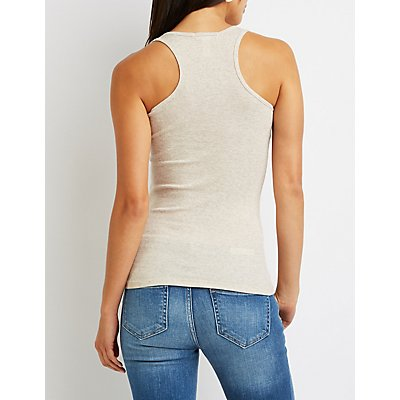 Ribbed Scoop Neck Tank Top