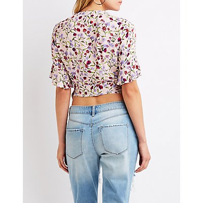 Floral Wrap Tie Crop Top