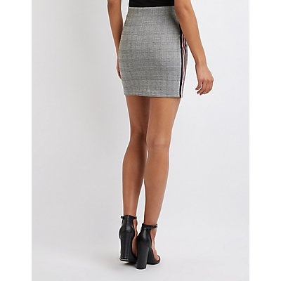 Plaid Racer Stripe Mini Skirt
