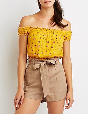 Floral Off The Shoulder Crop Top