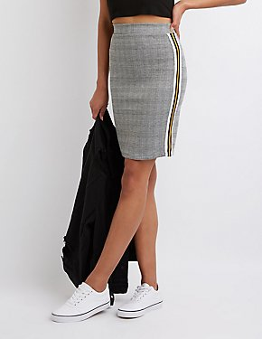 Plaid Racer Stripe Pencil Skirt