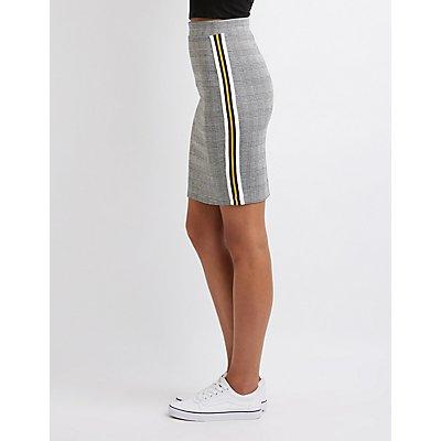 Plaid Racer Stripe Pencil Skirt
