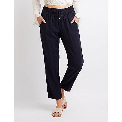 Smocked Cropped Pants