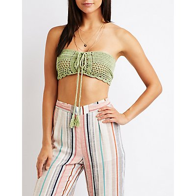 Lace Up Macrame Tube Top