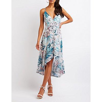 Lace Up Faux Wrap Maxi Dress