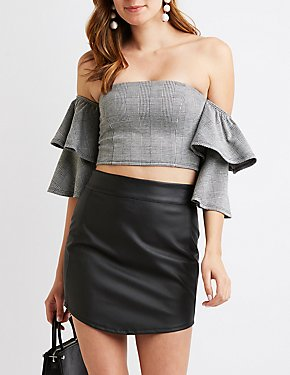Plaid Ruffle Off-The-Shoulder Crop Top