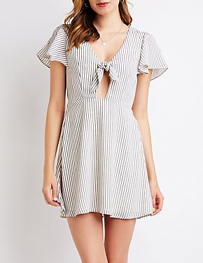 Striped Cut Out Skater Dress