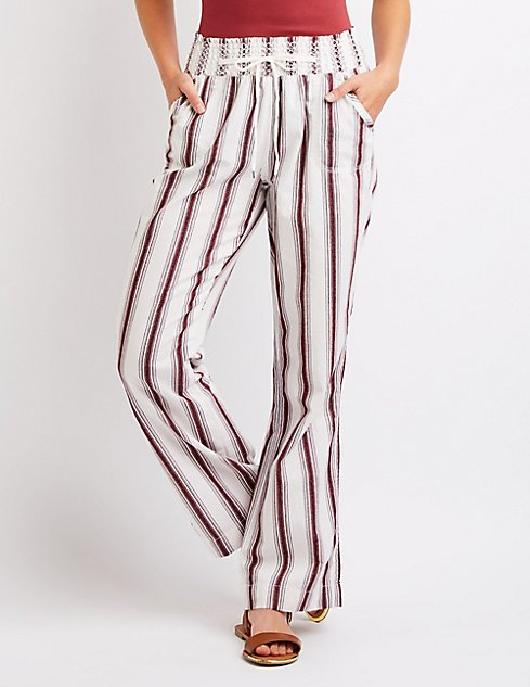 Striped Smocked Palazzo Pants | Charlotte Russe